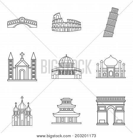 Shrine icons set. Outline set of 9 shrine vector icons for web isolated on white background