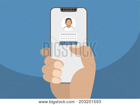 Log in page displayed on bezel free / frameless smartphone touchscreen. Hand holds the smartphone. Modern flat design illustration.