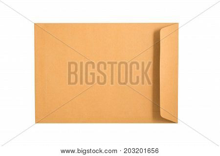 Brown Envelope Isolated On A White Background. Clipping Paths Included.