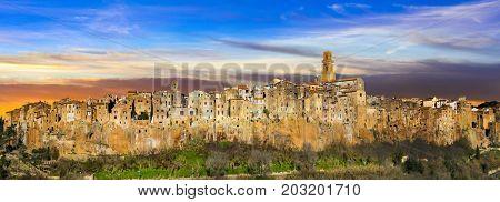 Medieval Pitigliano town over tuff rocks in province of Grosseto