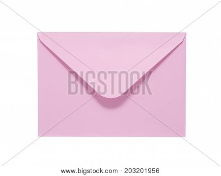Pink Envelope Isolated On White Background. Clipping Path Included.