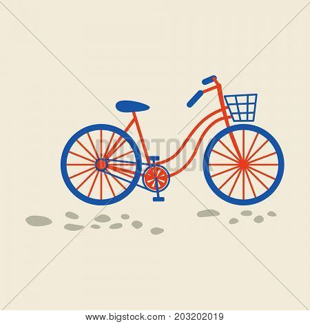 Retro bicycle with basket on the front wheel vector illustration.