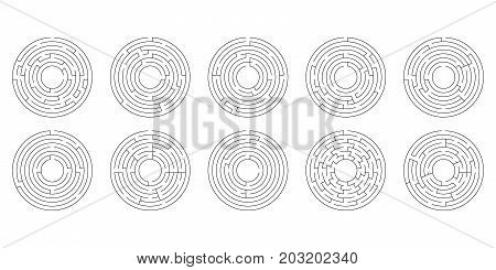 Vector Illustration Of A Set Of Ten Circular Mazes For Kids On A
