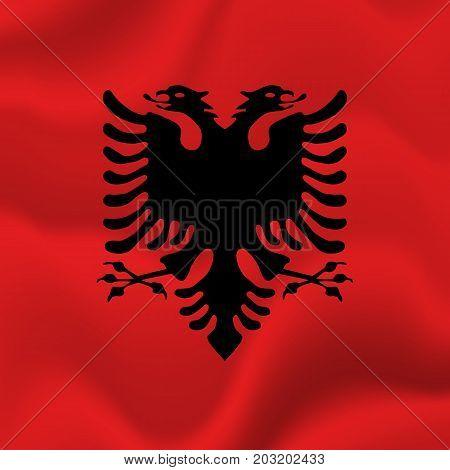Albania waving flag. Waving flag. Vector illustration.