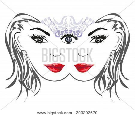 Woman with third eye psychic supernatural senses , vector illustration