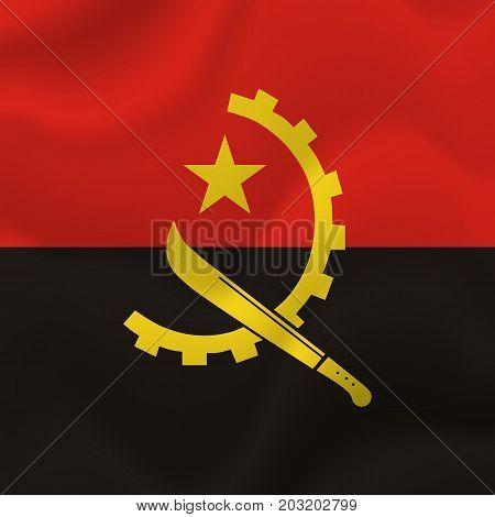 Angola waving flag. Waving flag. Vector illustration.