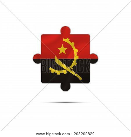 Isolated piece of puzzle with the Angola flag. Vector illustration.