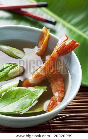 closeup of asian type shrimp soup