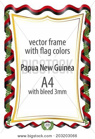 Frame and border of ribbon with the colors of the Papua New Guinea flag