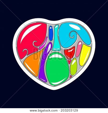 Vector illustration of Heart in style of art Nouveau and Pop art.  Illustration for print on T-Shirts.