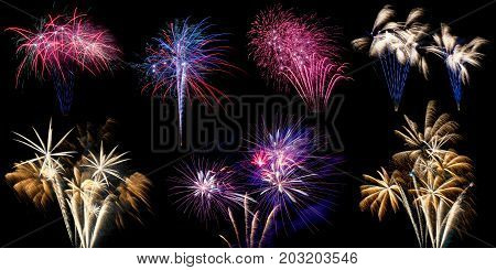 A collage or compilation of different Fireworks bursting isolated on black background in high resolution