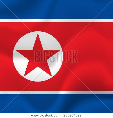 North Korea waving flag. Waving flag. Vector illustration.