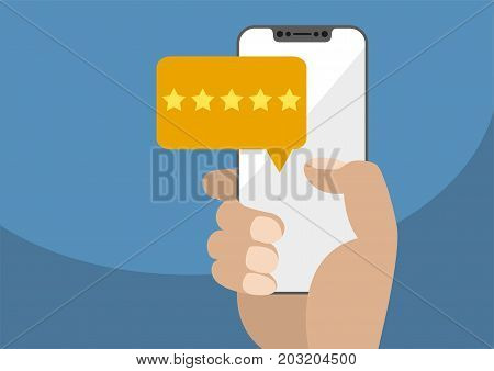 Positive online rating and customer survey vector illustration. Hand holding modern bezel-free / frameless smartphone with yellow five star rating message displayed next to touchscreen