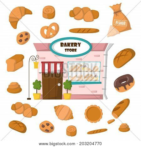 Vector Cartoon Pastry Bakery Shop