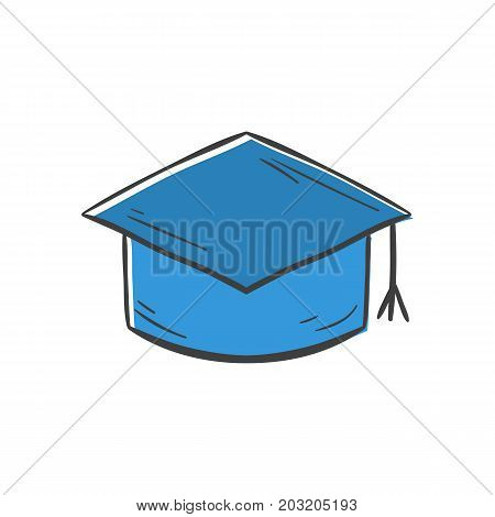 Vector illustration with cartoon hand drawn isolated education graduation hat. University or back to school background pattern. Graduation ceremony icon. Vector illustration with educational hat icon