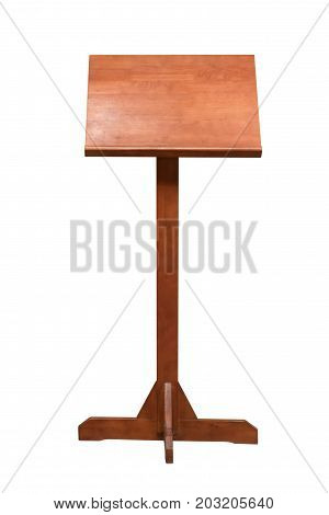 Wooden Podium Tribune Rostrum Stand Isolated On White Background, Clipping Path Included.