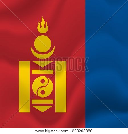 Mongolia waving flag. Waving flag. Vector illustration.