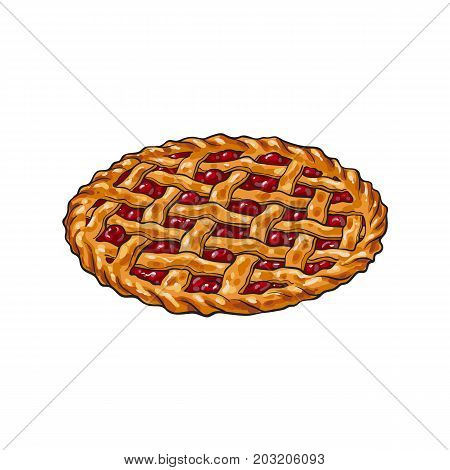 Hand drawn cherry pie, traditional thanksgiving food, sketch style vector illustration isolated on white background. Sketch style, hand drawn cherry pie, traditional Thanksgiving Day symbol