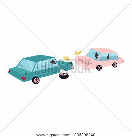 vector flat cartoon car crash, accident. One vehicle lost its wheel, and both have dents, broken glasses, scratches. Isolated illustration on a white background.