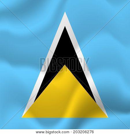 Saint Lucia waving flag. Waving flag. Vector illustration.