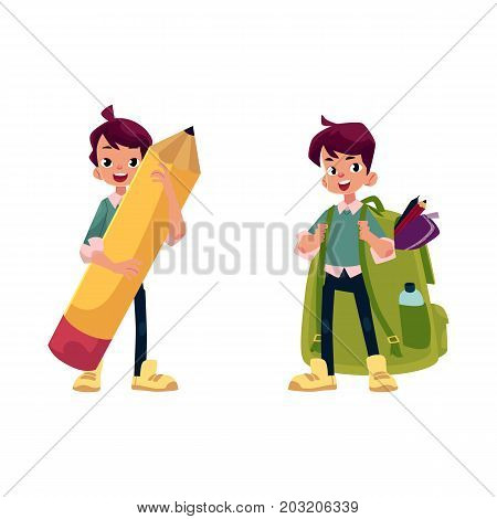 vector cartoon teenage man, schoolboy set. Male character keeps big pencil in hand smiling, another boy wears huge schoolbag full of school supplies. Flat isolated illustration on a white background.