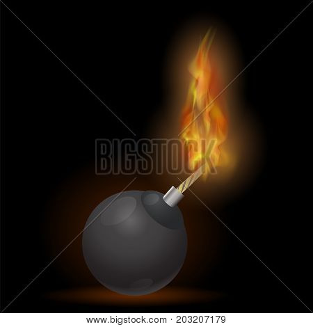 Burning Bomb Icon Isolated on Black Background.