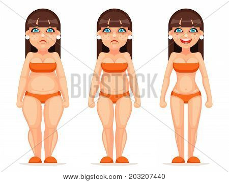Fat thin female character different health stages diet cartoon design vector illustration