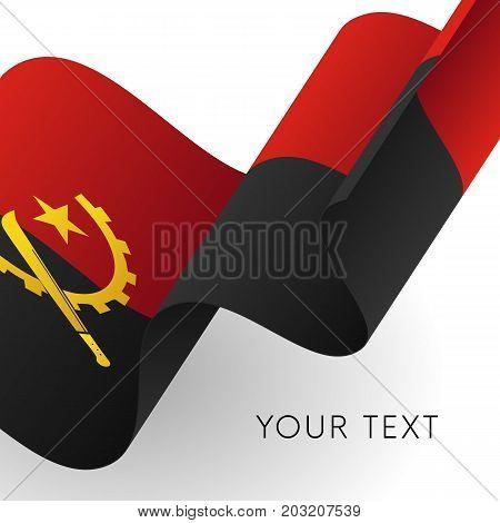 Angola flag. Patriotic design. Waving flag. Vector illustration.
