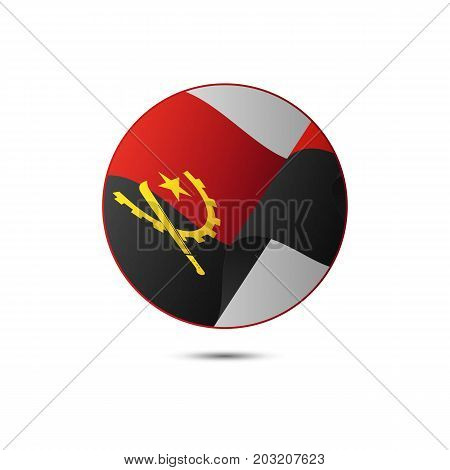Angola flag button with shadow on a white background. Vector illustration.