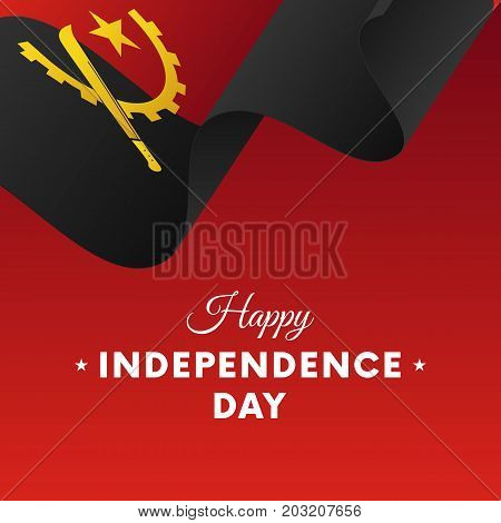 Banner or poster of Angola independence day celebration. Waving flag. Vector illustration.