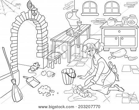 Cinderella cleans up the kitchen. The girl on the floor, around the mess. Vector of black and white lines. Cartoon coloring book. poster
