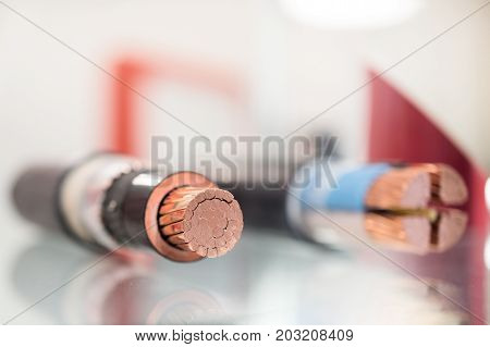 Cross section of high-voltage cable. Thick copper veins are surrounded by a thick layer of polymer insulation.