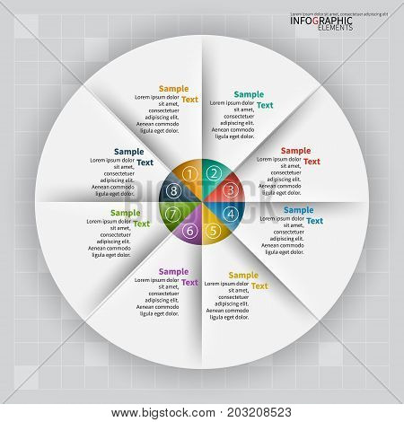 vector abstract 3d paper infographic elements. Circular infographics