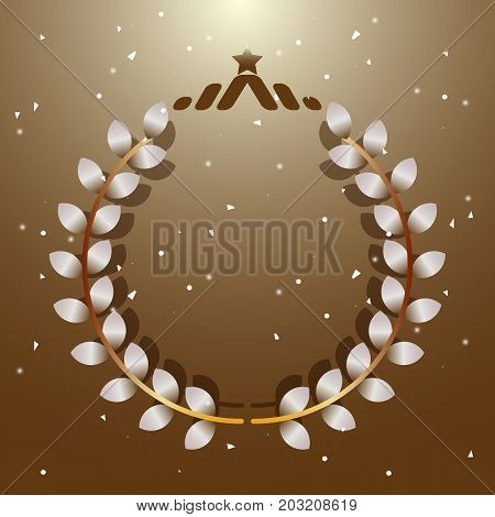 Imagination leaves laurel wreath with star stock vector