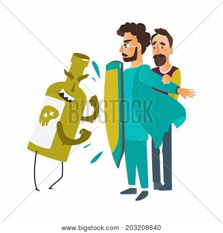 vector flat male doctor protecting male patient by own chest - shield from mental illness- alcoholism, fighting with alcohol bottle. Isolated illustration on a white background
