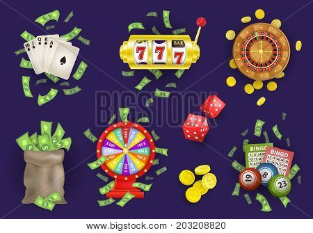 vector flat roulette wheel, golden coins, wheel of fortune, cash money bag. Poker royal flush in spades, bingo lottery balls, tickets. Slot machine, casino chips set. Illustration on blue background.