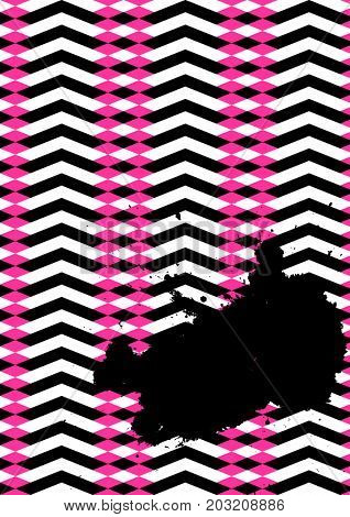 Grunge poster, striped background with simple geometric elements, patterns fashion trend 80-90s.