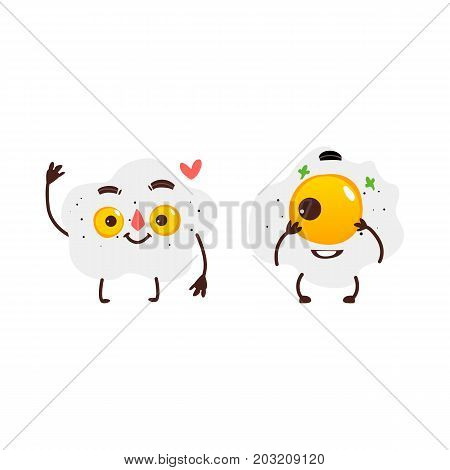 Two funny fried sunny side up egg characters with smiling human faces, cartoon vector illustration isolated on white background. Funny fried eggs with one and two yolks, breakfast characters