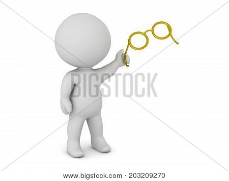 3D character holding a pair of eye glasses. Isolated on white background.