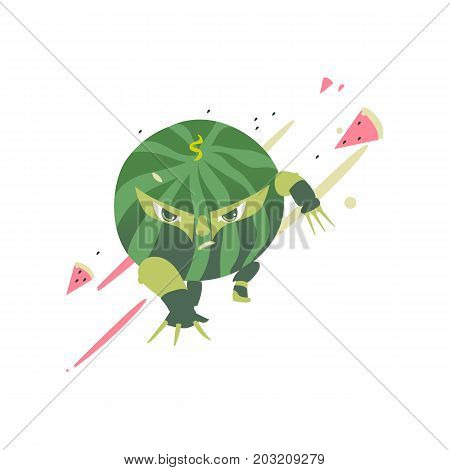 Funny watermelon fruit hero, superhero character, guard, defendor, flat style cartoon vector illustrations isolated on white background. Watermelon fruit hero, superhero character in mask and cape