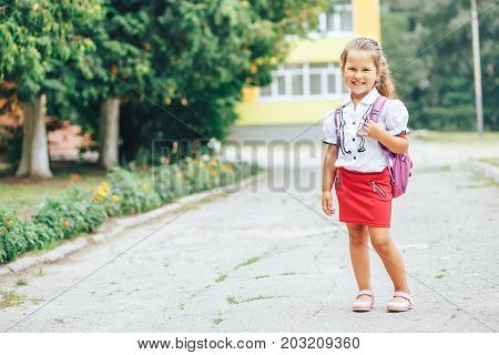 A schoolgirl of junior classes of Asian appearance with a book in her hands