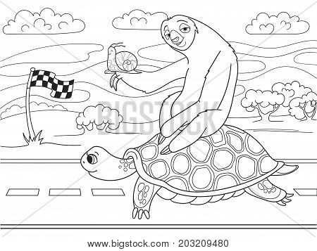 Long Journey, speed. Three friends went on a long trip. Sloth and snail riding a turtle. Vector cartoon coloring book.