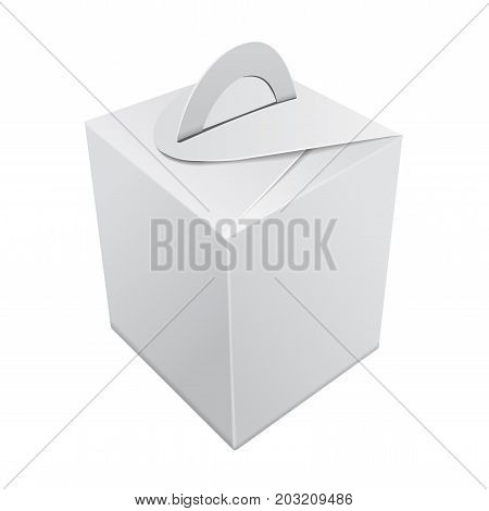 Blank Kraft Paper Gift box mockup. Vector White Container with handle. Gift Box template, Cardboard Package for your design