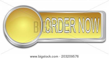 golden Order now dash Button - 3D illustration