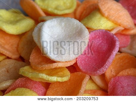 Heap Of Multicolor Shrimp Chips Close Up