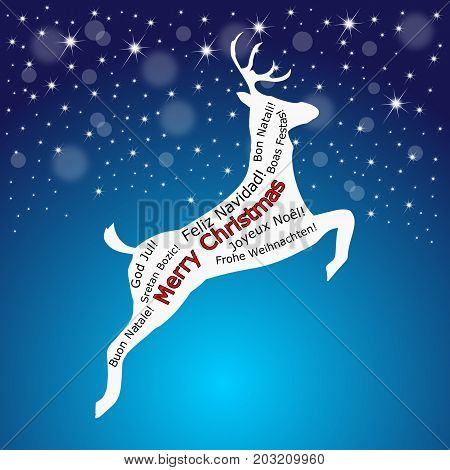 Merry Christmas wordcloud on a reindeer on glossy blue background - illustration