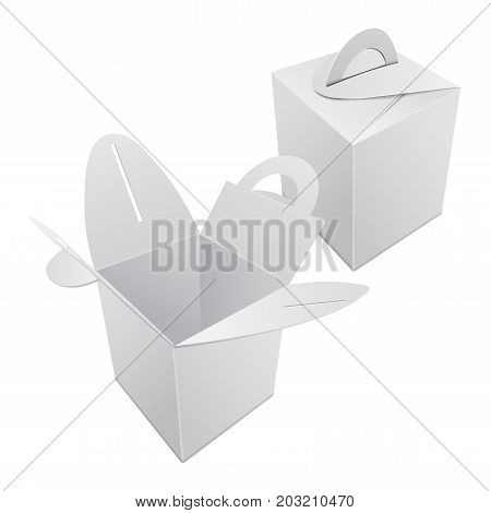 Set of Blank Kraft Paper Gift box mockup. White Container with handle. Vector Gift Box template, Cardboard Package for your design