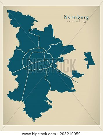 Modern City Map - Nuremberg City Of Germany With Boroughs De