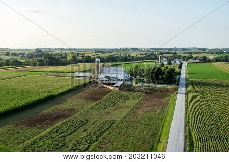 Farm And Road Aerial View