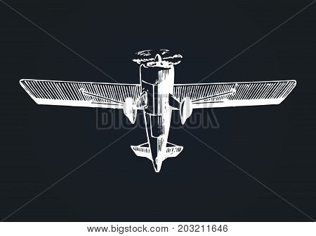 Vector drawing of flying aircraft. Vintage retro plane poster, card. Hand sketch aviation illustration in engraving style.